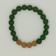 Handmade Jade and Rudraksha bead Stack Bracelet-good luck charm, prosperity