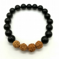 Handmade Black Agate Rudraksha bead Stack Bracelet clarity and good fortune Xmas