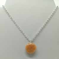 Peach Calcite Handcrafted Wire Wrapped Minimalist,Single Bead pendant,Cmas gift