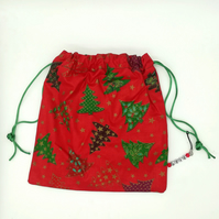 Red Christmas  print bag-drawstrings & charm dangle-gift  bag,stocking filler