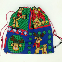 Kawaii Reindeer Christmas print bag-drawstrings & charm dangle,gift bag,stocking