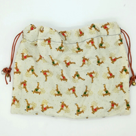 Cream reindeer Christmas print bag w drawstrings,charm dangle, gift bag,stocking