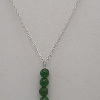 "Handcrafted Wire Wrapped Jade Minimalist,18"" 4 Bead Drop pendant, Classic"