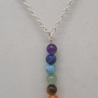 "Handcrafted Wire Wrapped Chakra gemstones Minimalist,18"" 7 Bead Drop pendant,"