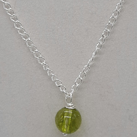 "Handcrafted Wire Wrapped Peridot Minimalist,18"" Single Bead pendant,Classic"