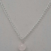 "Handcrafted Wire Wrapped Rose Quartz minimalist,18"" Single Bead pendant"