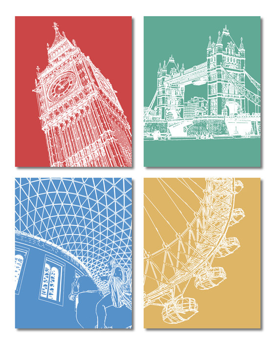 London Iconic Buildings Line Art – Set of 4 Postcards