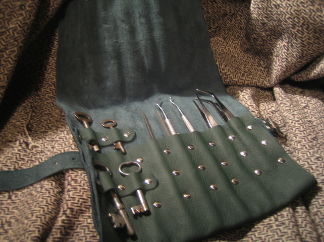 LARP theives, picklocks kit in leather tool roll.