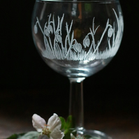 MADE TO ORDER Hand Engraved Snow Drop Glass - Personalizable with Names & dates