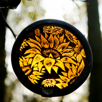 MADE TO ORDER Small Sunflower stained glass light catcher - perfect gift