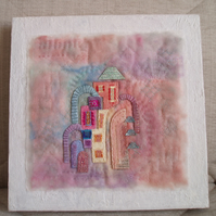 TEXTILE ART PICTURE.  Fabric, embroidery and felt textile picture of Portmeirion