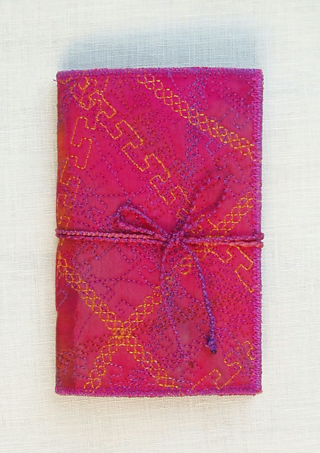 NOTEBOOK SILK FABRIC EMBROIDERED COVER PINK  WITH HAND PAINTED PAGES