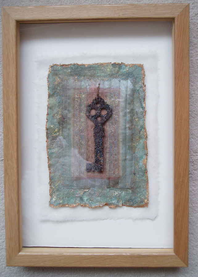 VINTAGE KEY PICTURE EMBROIDERED TEXTILE ART PALE TURQUOISE FABRIC