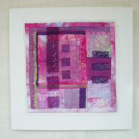 CONTEMPORARY QUILTED PICTURE abstract art in pink and mauve fuchsia colours