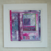 SMALL CONTEMPORARY textile picture in pink and mauve lavender colours