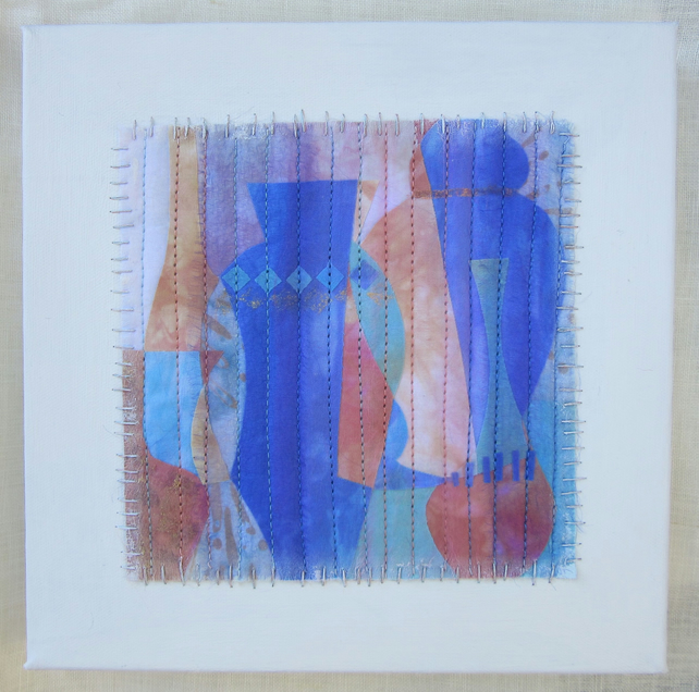 Blue Vase Picture mounted on canvas.  A blue and peach abstract textile collage