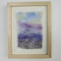 LAVENDER LANDSCAPE PICTURE. Felted abstract impression of lavender fields