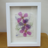 Pink flower picture.  Textile fabric art on hand made felt.