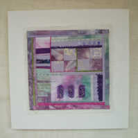 ABSTRACT QUILT ART PICTURE in pink and mauve lavender colours