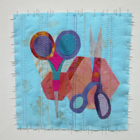SCISSORS AND SHAPES TEXTILE COLLAGE PICTURE. Modern turquoise fabric applique.