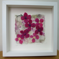 PINK FLOWER FELT PICTURE.  Organza and hand felted flowers in white frame.