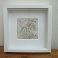 Abstract felt picture. Contemporary handmade felt in white, grey, pink and gold