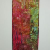 ABSTRACT QUILTED WALL HANGING. A picture of autumn leaves and hedgerows