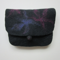 Small black clutch bag hand felted with merino wool