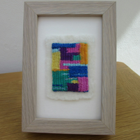 WOVEN ABSTRACT TEXTILE ART PICTURE.  Contemporary brightly coloured weaving