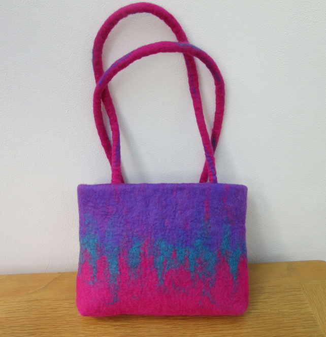 TURQUOISE and MAUVE HAND FELTED BAG