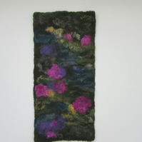 Landscape Felt Picture.  Azalea and Rhododendron hand felted wall art