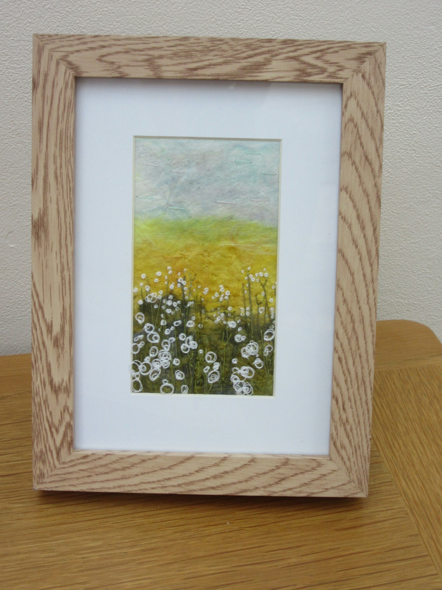 EMBROIDERED LANDSCAPE OF GOLDEN FIELDS.  Framed art  embroidery.
