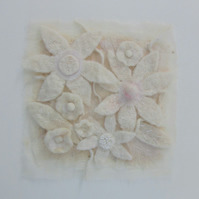 MODERN WHITE FLOWER PICTURE. White frosty flowers in hand made felt.
