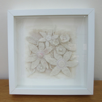 White flower picture. Contemporary white frosty flowers in hand made felt.