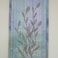 Mini quilt textile picture.  Turquoise and mauve wall hanging