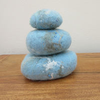 Hand felted pebble ornament.  3D abstract sea and beach in blue and turquoise