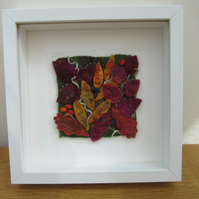 AUTUMN HEDGEROW PICTURE.  Hand made felt leaves and berries framed art.