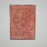 Small peach coloured quilted picture. Modern textile wall hanging.