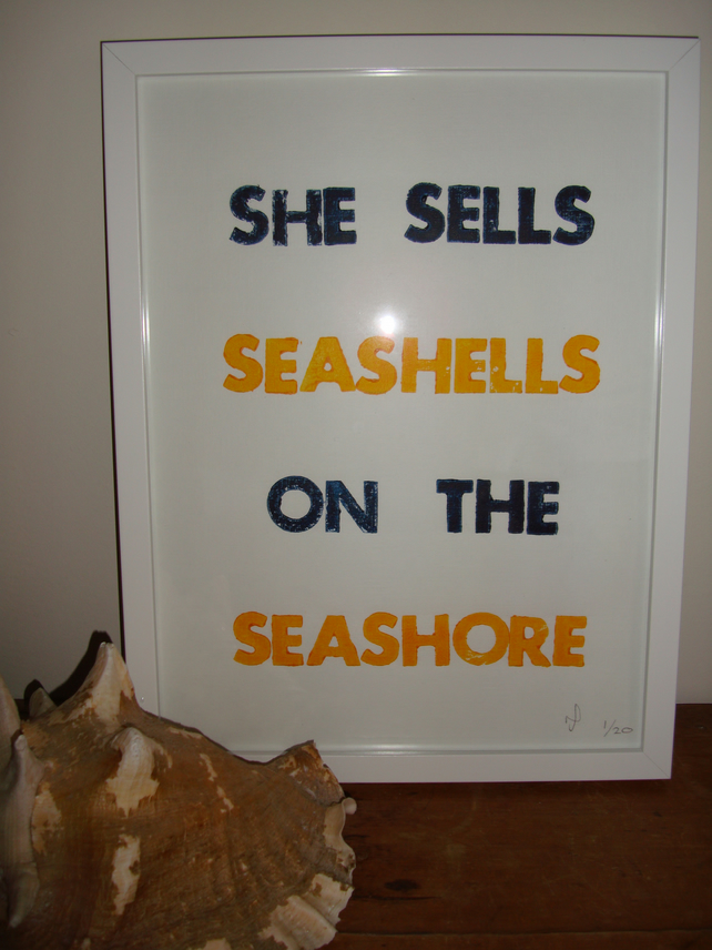 She Sells Seashells on the Seashore Nautical Limited Edition Letterpress Print