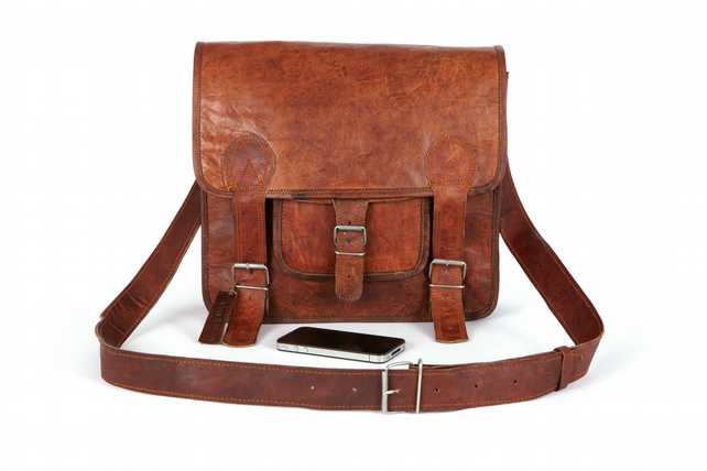 Leather Satchel Messenger Bag - Handmade with a Vintage look (small)