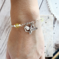 Silver Bumble Bee Charm With Swarovski Crystals Bracelet