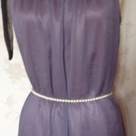 'Orchid' size small purple & black sheer chiffon dress-long top uk 6-8