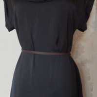 'Nuit' size small black satin dress cowl neck dress uk 8-10