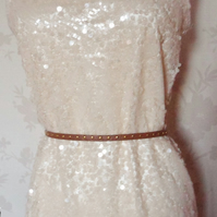 'Ivory' size small sequined intricate detail cream shift dress uk 8-10