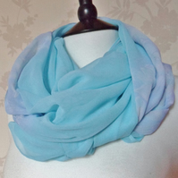 'Serene' sheer dip-dye soft green, lilac & pink tone floral chiffon scarf