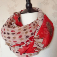 'Poppy' floral patterned red and beige dotty pretty chiffon scarf