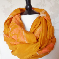 'Citrine sail' rich golden yellow & coral pink motif patterned satin scarf