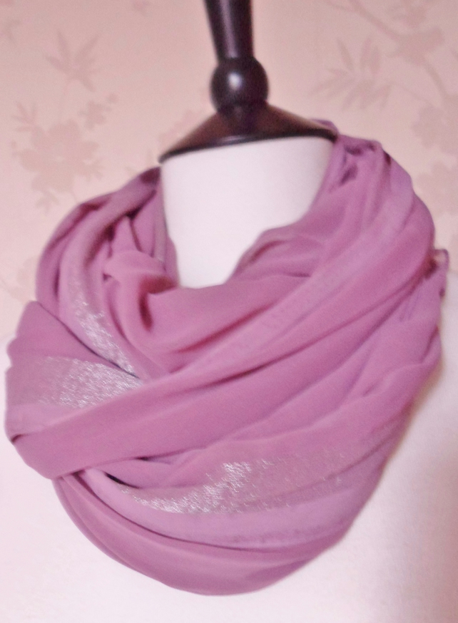 'Berry Dusk' silver stripe dusky pink and silver trim sheer chiffon scarf
