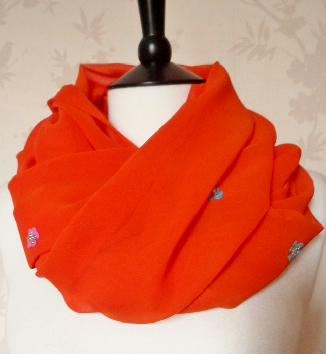 'Citrus Flora' vibrant orange flower sequin & bead chiffon scarf
