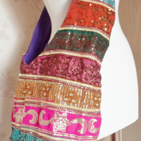 'Lustre' colourful sequin & striped design embroidered side bag